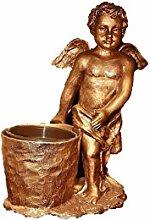 Engel mit Topf, Figur aus Resin, in Bronze-Optik, Witterungsbeständig, Grabschmuck mit Pflanztopf