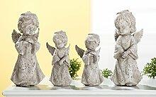 Engel Poly antik-grau Höhe 25 cm, Engel, Gartendeko, Deko, Angel (Hände auf Brust (links))