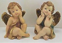Engel- Schutzengelpaar 12 cm handbemahl