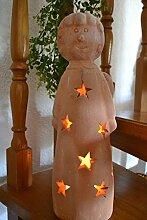 Engel- Windlicht Sterne- Höhe 46 cm - hübscher Weihnachts-Engel aus schwerem Terracotta, Windlicht für Draussen und drinnen -für Kerzen und Lichterkette