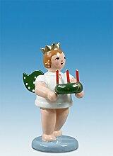Engelfigur Engel mit Adventkranz mit Krone Höhe