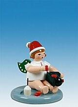 Engelfigur Weihnachtsengel sitzend mit Lohne Krone