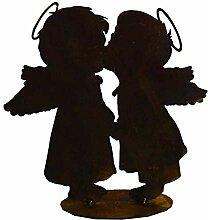 Engelpaar küssend auf Bodenplatte, Edelrost, Rost