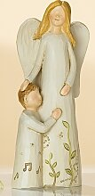 Engelpaar Mutter mit Junge links, creme, 15 cm