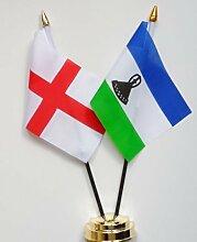 England & Lesotho Freundschaft Tisch Flagge Display 25cm (25,4cm)