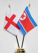 England & North Korea Freundschaft Tisch Flagge Display 25cm (25,4cm)