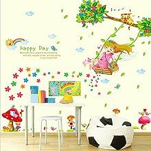 Englisch Buchstaben Swing Mädchen Baum Blumen Wand Aufkleber Home Aufkleber PVC Wandmalereien, Vinyl, Papier, House Dekoration Tapete Wohnzimmer Schlafzimmer Küche Kunst Bild DIY für Kinder Kinderzimmer Baby