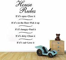 Englisch Gerücht Wandaufkleber Hausregeln