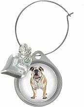 Englischer Bulldog Hund Bild Design Weinglas Anhänger mit schicker Perlen