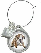 Englischer Bulldog Welpe Hund Bild Design Weinglas Anhänger mit schicker Perlen