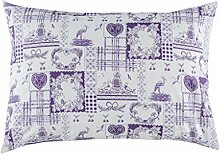 English Home 10003914002 Cottage Life Pillow cover 50x70 Baumwolle, Purple, 50 x 70 cm