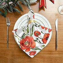 Engree Stoffservietten mit roten Mohnblumen,
