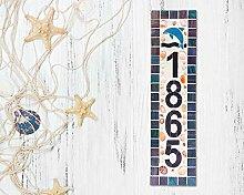 Enid18Bru Hausnummernschild Mosaik Holzschild