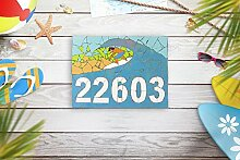 Enid18Bru Hausnummernschild Strand Briefkasten