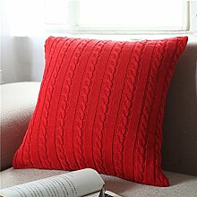EnjoyBridal® Baumwolle Zierkissenbezug Gestrickt Kissenbezug Sofa Büro Dekokissen Geschenkidee Zimmer Auto Bettkissen Kissenhülle mit Knopf 45*45cm (Rot)
