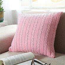 EnjoyBridal® Baumwolle Zierkissenbezug Gestrickt Kissenbezug Sofa Büro Dekokissen Geschenkidee Zimmer Auto Bettkissen Kissenhülle mit Knopf 45*45cm (Rosa)