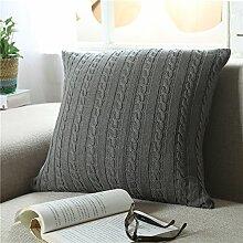 EnjoyBridal® Baumwolle Zierkissenbezug Gestrickt Kissenbezug Sofa Büro Dekokissen Geschenkidee Zimmer Auto Bettkissen Kissenhülle mit Knopf 45*45cm (Grau)
