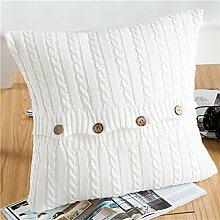 EnjoyBridal® Baumwolle Zierkissenbezug Gestrickt Kissenbezug Sofa Büro Dekokissen Geschenkidee Zimmer Auto Bettkissen Kissenhülle mit Knopf 45*45cm (Weiß)