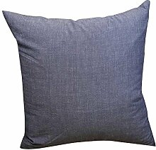 EnjoyBridal® Karo Zierkissenbezug 100% Baumwolle Kissenbezug Sofa Büro Dekokissen Geschenkidee Zimmer Auto Bettkissen Kissenhülle 50*50cm (60*60cm, Blau)
