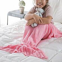 EnjoyBridal® Kinder Meerjungfrau Decke Handgemachte Häkeln Meerjungfrau Flosse Decke für Kinder, Mermaid Blanket alle Jahreszeiten Schlafsack (Rosa)