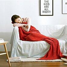 EnjoyBridal® Meerjungfrau Decke Fest Geschenk Handgemachte Sofa Schlafsack Mermaid Schwanz Decke für Erwachsene alle Jahreszeiten Schlafsack (80*190CM, Rot)
