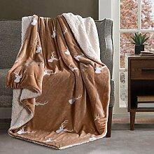 EnjoyBridal® Reine Wolle Kuscheldecke Wohndecke Sofadecke Bettüberwurf mit Cartoon Muster Hochwertig Bettdecken (140*200cm, Kamel)