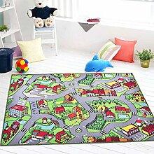 EnjoyBridal® Spielteppich Kinderteppich Kinderzimmer Babyteppisch Lustige Cartoon Konturenschnitt Grün Picknick Teppich, Grösse: 100x150 cm (Muster4)