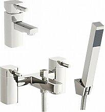 Enki Moderne Badewannenarmatur mit Dusche Kopf + Waschtischarmatur Pack Desire