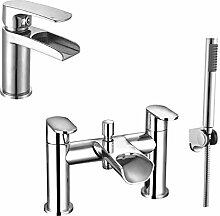 Enki Moderne Wasserfall Designer Badewannenarmatur mit Dusche Kopf + Waschtischarmatur Pack niagara