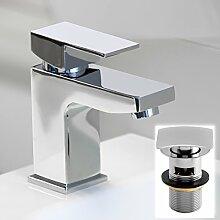 Enki Moderner Designer Waschbecken-Mischarmatur, mit quadratisch Schlitz Ablaufgarnitur Mailand