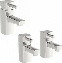 Enki Moderner quadratischer Designer Wanneneinlauf Twin Heiß & Kalt Mischbatterie + Waschbecken Pack Desire