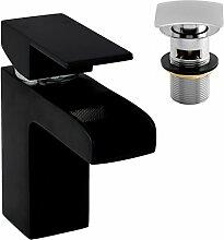 Enki quadratisch schwarz Wasserfall Mischbatterie Armatur Designer Ablaufgarnitur Schlitz Nero KUBIX