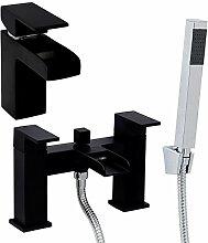Enki schwarz Badewanne Duschanschluss + Waschbecken-Armatur Wasserfall Ultra Nero KUBIX