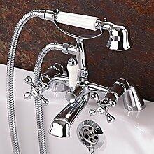 Enki Traditionelle Kreuz Griff Mischbatterie für Badewanne Wasserhähne Dusche Badezimmer Chrom Windsor