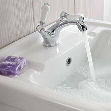 Enki Waschbecken Wasserhahn Mischbatterie Keramik-Porzellan Hebel Abfall Vintage Messing Neue Kensington