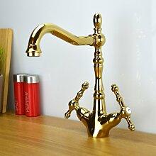 ENKI Waschtischarmatur Badewannenarmaturen bronzefarbene Kreuzgriffe BELGRAVIA