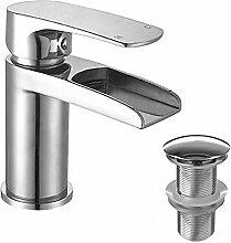 """Enki Wasserfall-Einhandmischer mit Ablaufgarnitur, für Waschbecken ohne Überlauf, Chrom, Serie """"Niagara"""""""
