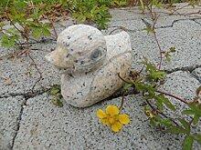 Ente aus Naturstein in gelb teilpoliert Gartendeko Teichdeko Tierfigur klein