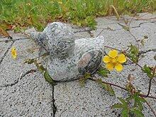 Ente aus Naturstein in grün teilpoliert Gartendeko Teichdeko Tierfigur klein