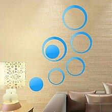 Entfernbare Aufkleber Vinyl Art Home Dekor Acryl Spiegel Wand Aufkleber abnehmbare Dekoration DIY Home Weihnachten Dekor, Blau