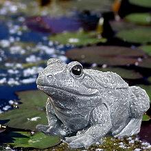 Entspannte Froschskulptur, Grau, Tierfigur,