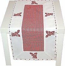 entzückende Tischdecke 40x90 cm WEIHNACHTEN Landhausstil rot weiß kariert ELCH Polyester Tischläufer in Baumwolloptik (Tischläufer 40x90 cm)