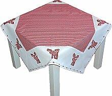 entzückende Tischdecke 85x85 cm WEIHNACHTEN Landhausstil rot weiß kariert ELCH Polyester Mitteldecke in Baumwolloptik (Mitteldecke 85x85 cm)