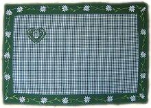 entzückende TISCHDECKE Mitteldecke Platzdeckchen LANDHAUS GRÜN Weiß Kariert Stickerei EDELWEIß praktisch und dekorativ für Ihre Küche (Tischläufer 30x50 cm)