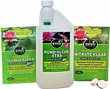 Envii Jährliche Teichbehandlung - Teich Klear Xtra, Schlamm Klear und Nitrat Klear Treat Schlamm, Algen und Grünes Wasser