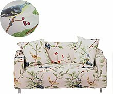 ENZER Sofa Bezug 1 2 3 4-Sitzer-Bettüberwurf Sessel Blumen Vogel Easy Stretch Elastischer Stoff Sofa Couch Cover Protector ,4-Sitzer,Elster