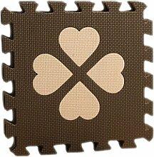 EOZYSteckmatten Kinder Bodenschutzmatte Grass Spielteppich Spielmatte Puzzlematte Kinderteppich (Braun)