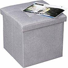 EPCTEK Faltbarer Sitzhocker, 38 x 38 x 38 cm, Sitzcube als Fußablage, Sitzwürfel aus Leinen, Deckel zum Abnehmen (Grau)
