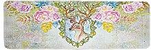 Epinki Polyester Teppiche Hirsch Blumen Muster