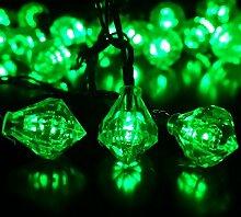 Eplze LED-Solarlicht Wasserdicht 6m 19.7ft 30LEDs Diamant Lichterketten für Garten, Hochzeit, Weihnachten, Geburtstagsfeier, Feste (Grün)